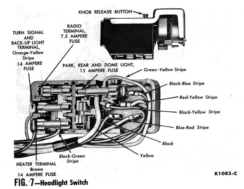 1961Headlight_switch 91 camaro headlight knob removal third generation f body message Single Pole Dimmer Switch Wiring at fashall.co