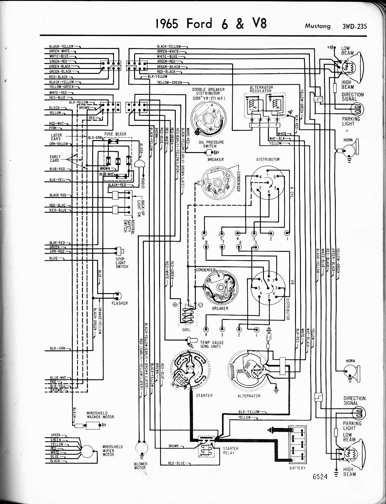 Ford Diagrams Distributor Wire Diagram 7 65 Mustang Wiring 2 Drawing B
