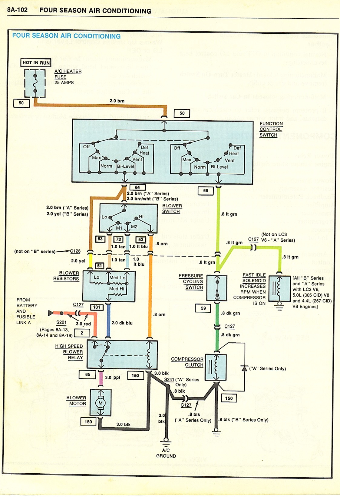 1968 Camero A/C Wiring - Drawing A
