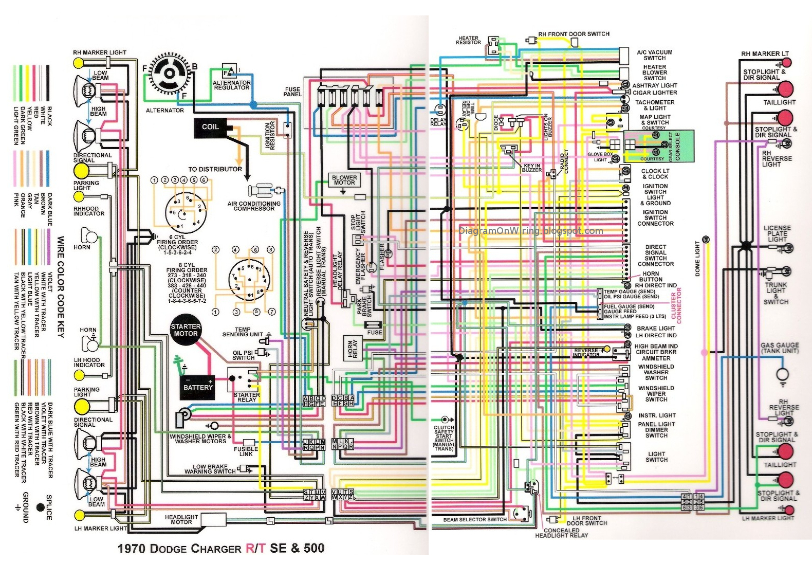 1970dodgechargerRT Colorwiringdiagram chrysler diagrams 1972 dodge charger wiring diagram at n-0.co