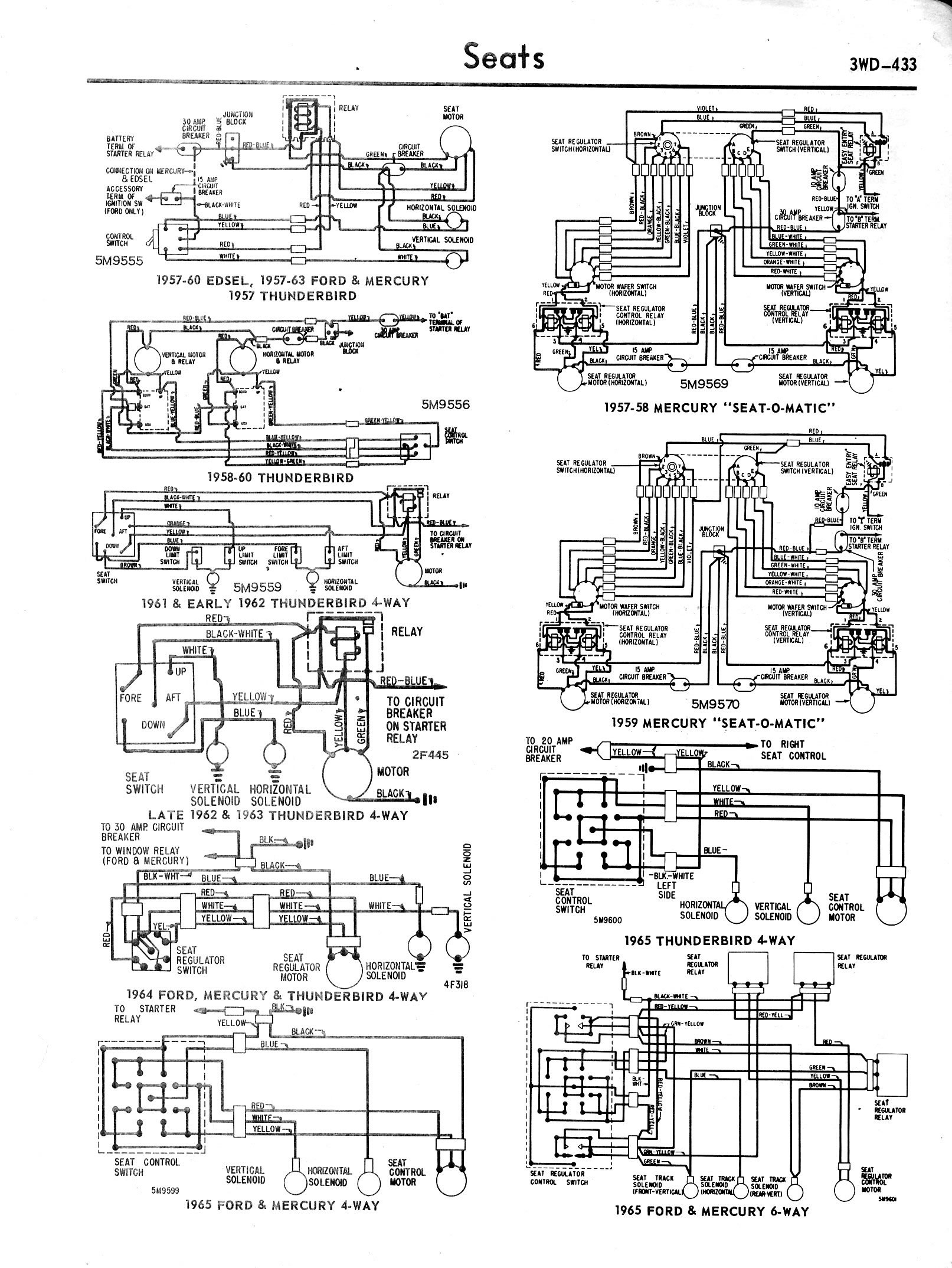 Ford Diagrams 1965 F100 Turn Signal Wiring Diagram 57 64 Mercury 59 Seat O Matic 60 Edsel Thunderbird 4 Way 6
