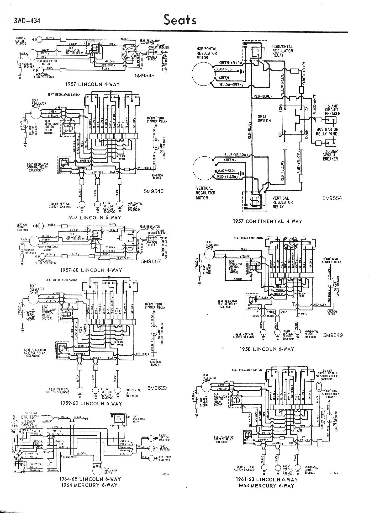 ford diagrams 57 65 lincoln 4 way 6 way 57 continental 6 way 63 64 mercury 6 way