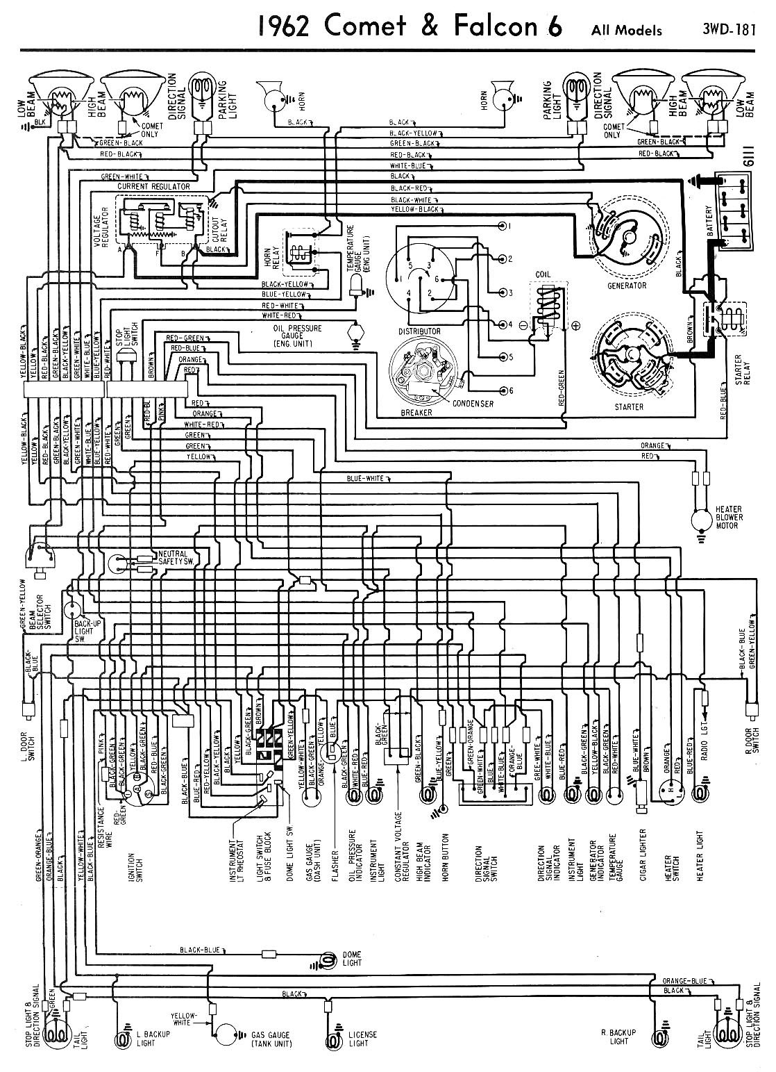 62 Falcon & Comet wiring - Drawing A. Complete wiring diagram for a 1963  Falcon