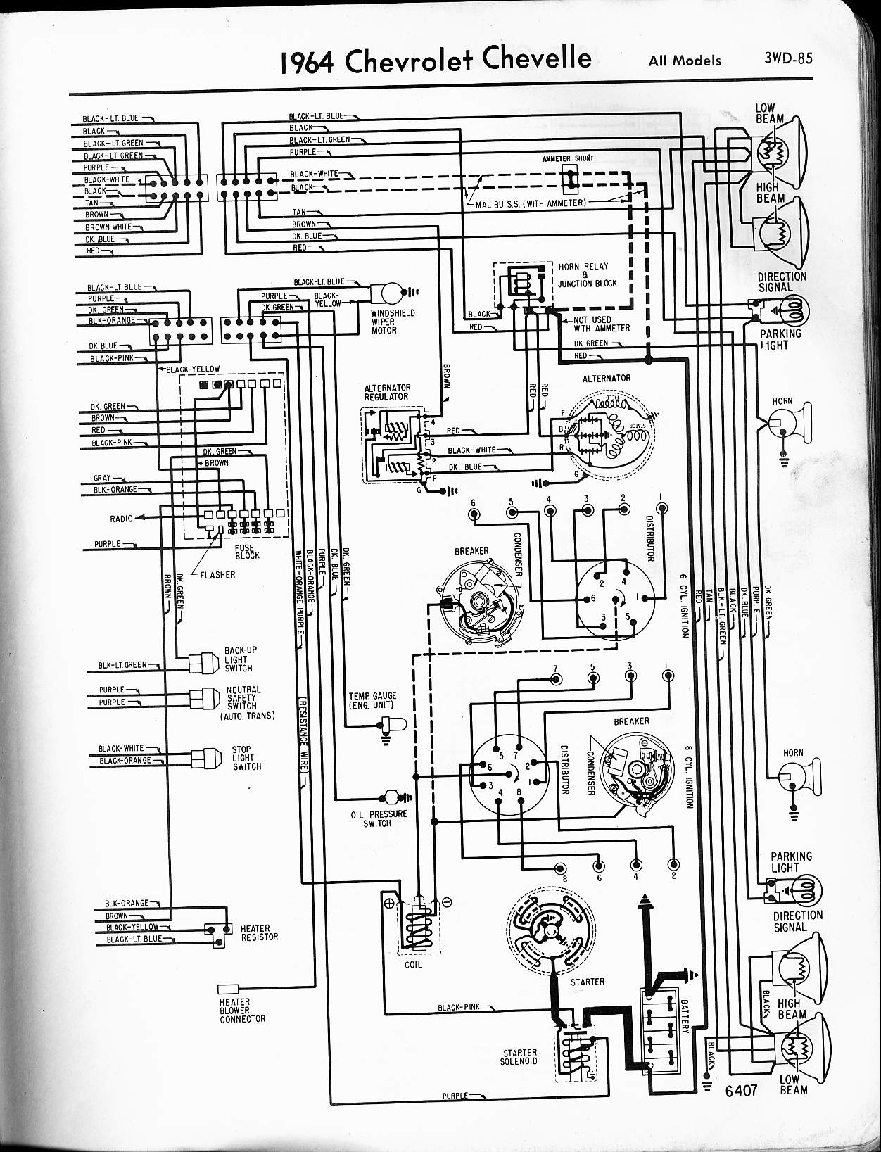 MWireChev64_3WD 085 chevy diagrams 1965 thunderbird alternator wiring diagram at crackthecode.co