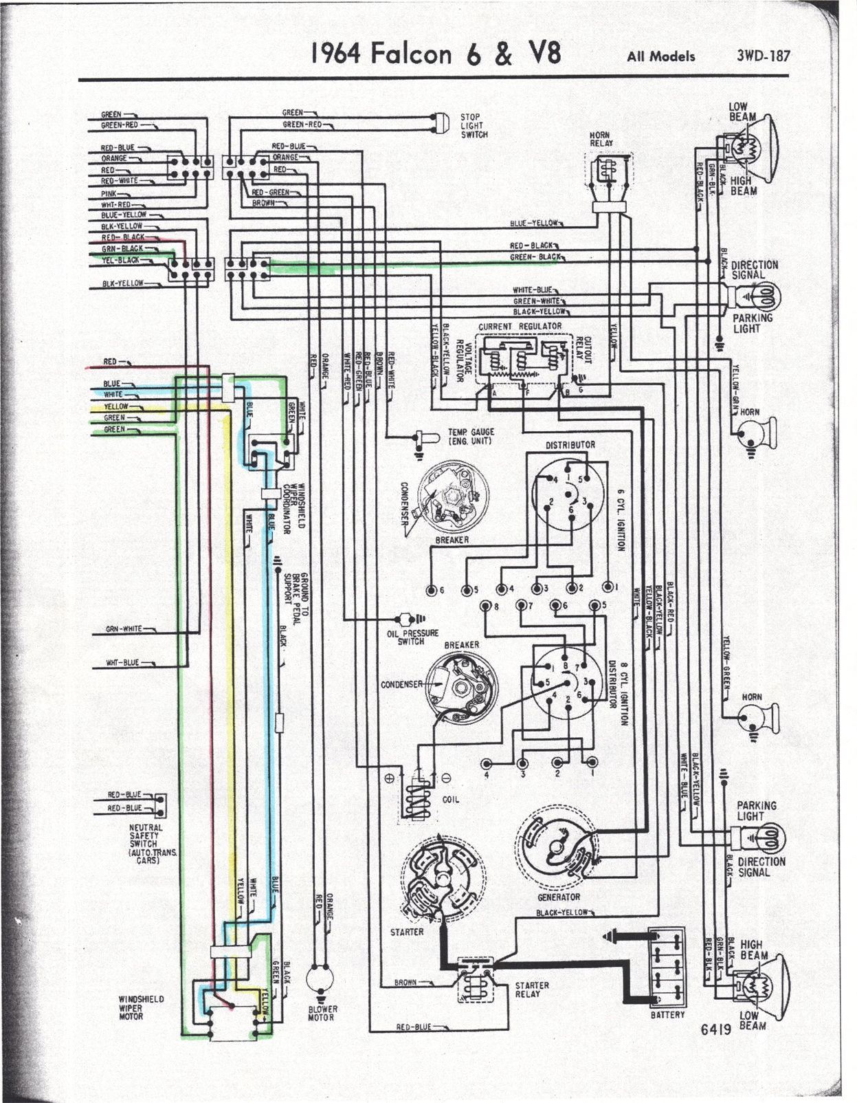Falcon Diagrams Motor Wiring Diagram On 1965 Ford Mustang Wiper 1964 64 Drawing A