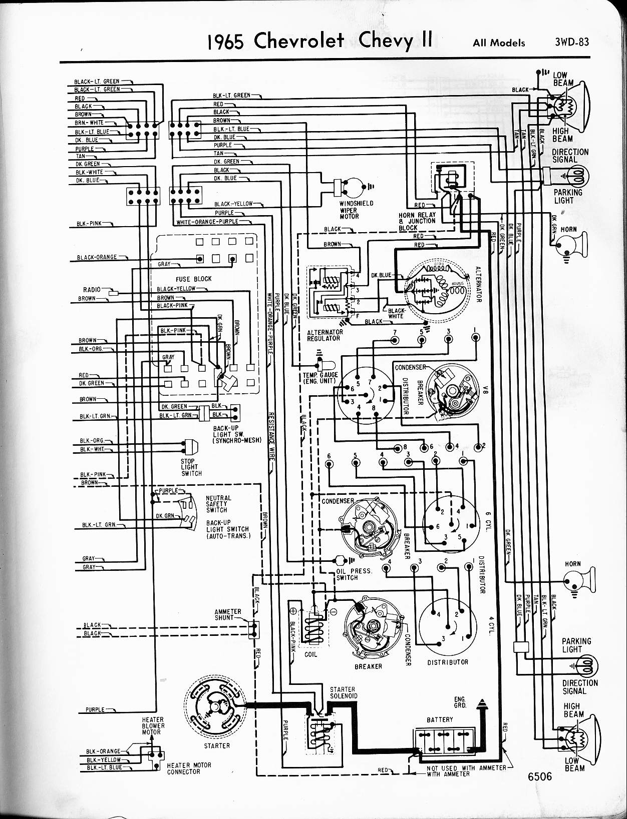 MWireChev65_3WD 083 chevy diagrams 1985 Chevy Truck Wiring Harness at webbmarketing.co