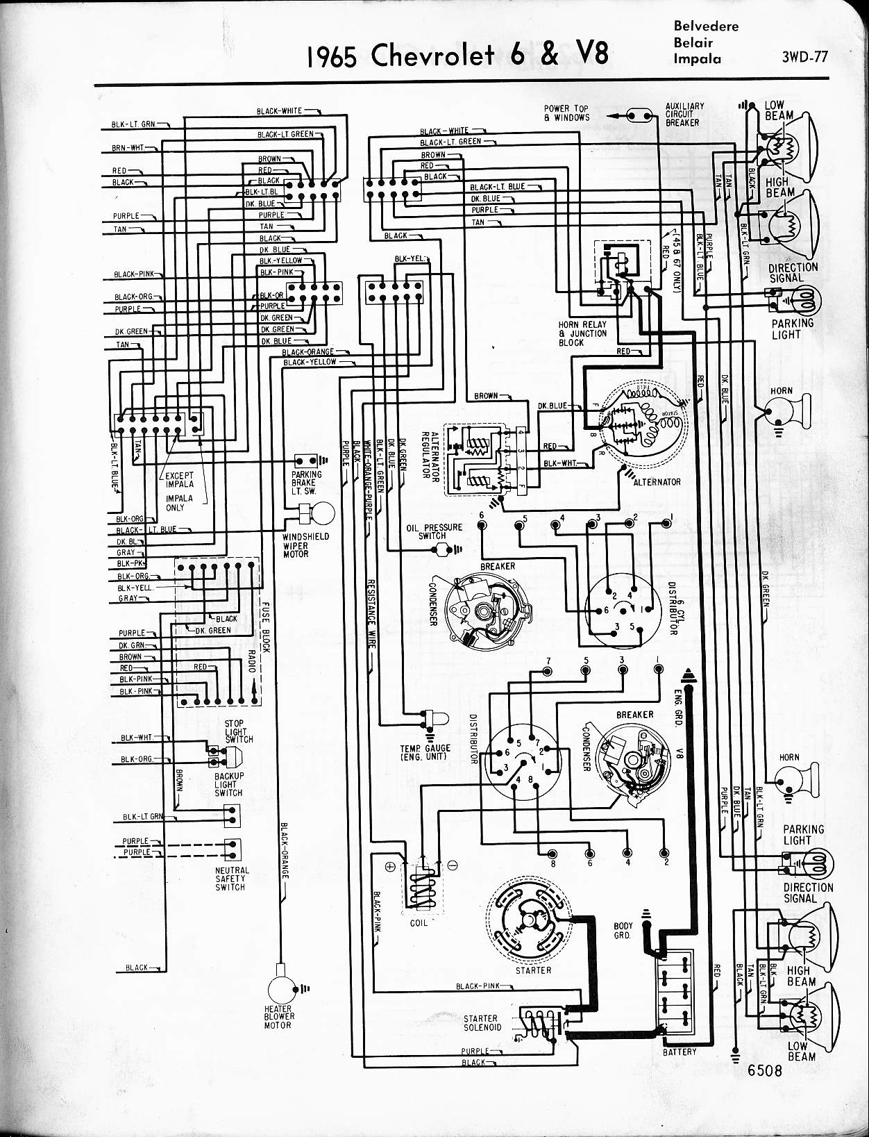 MWireChev65_3WD 077 chevy diagrams Basic Turn Signal Wiring Diagram at crackthecode.co