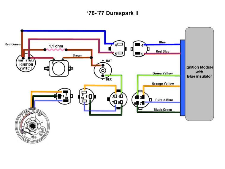 76 77 Duraspark II Color ford diagrams Prestolite Regulator Wiring Diagram at eliteediting.co