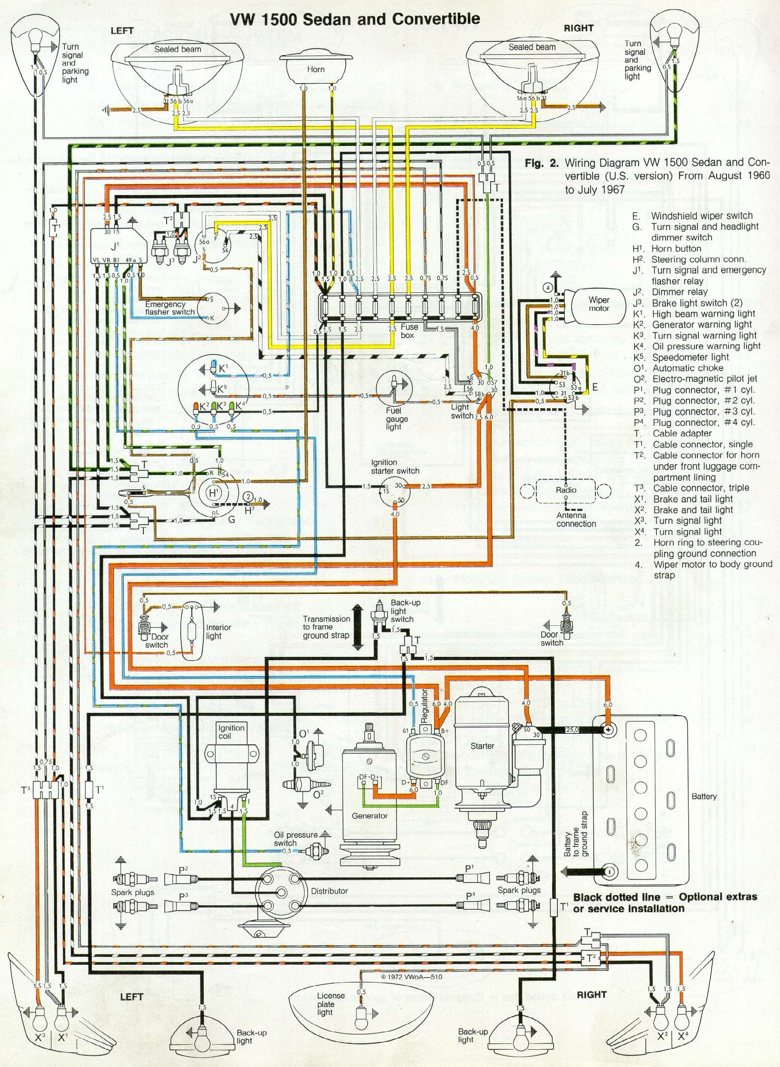 1967 VW 1500 Sedan & Convertible wiring diagram - Drawing A