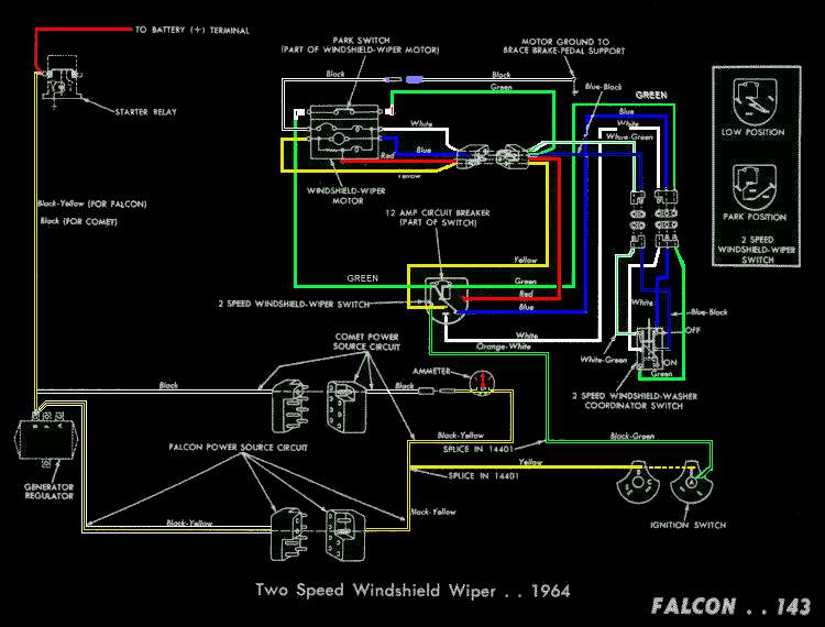Electric Wipers Circuit: 1964 Ford Falcon Wiring Diagram Instrument At Gundyle.co