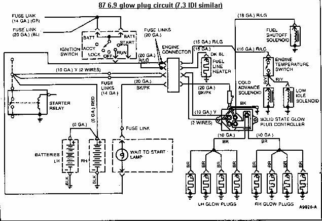 1987 Ford Glow Plug wiring - Drawing A