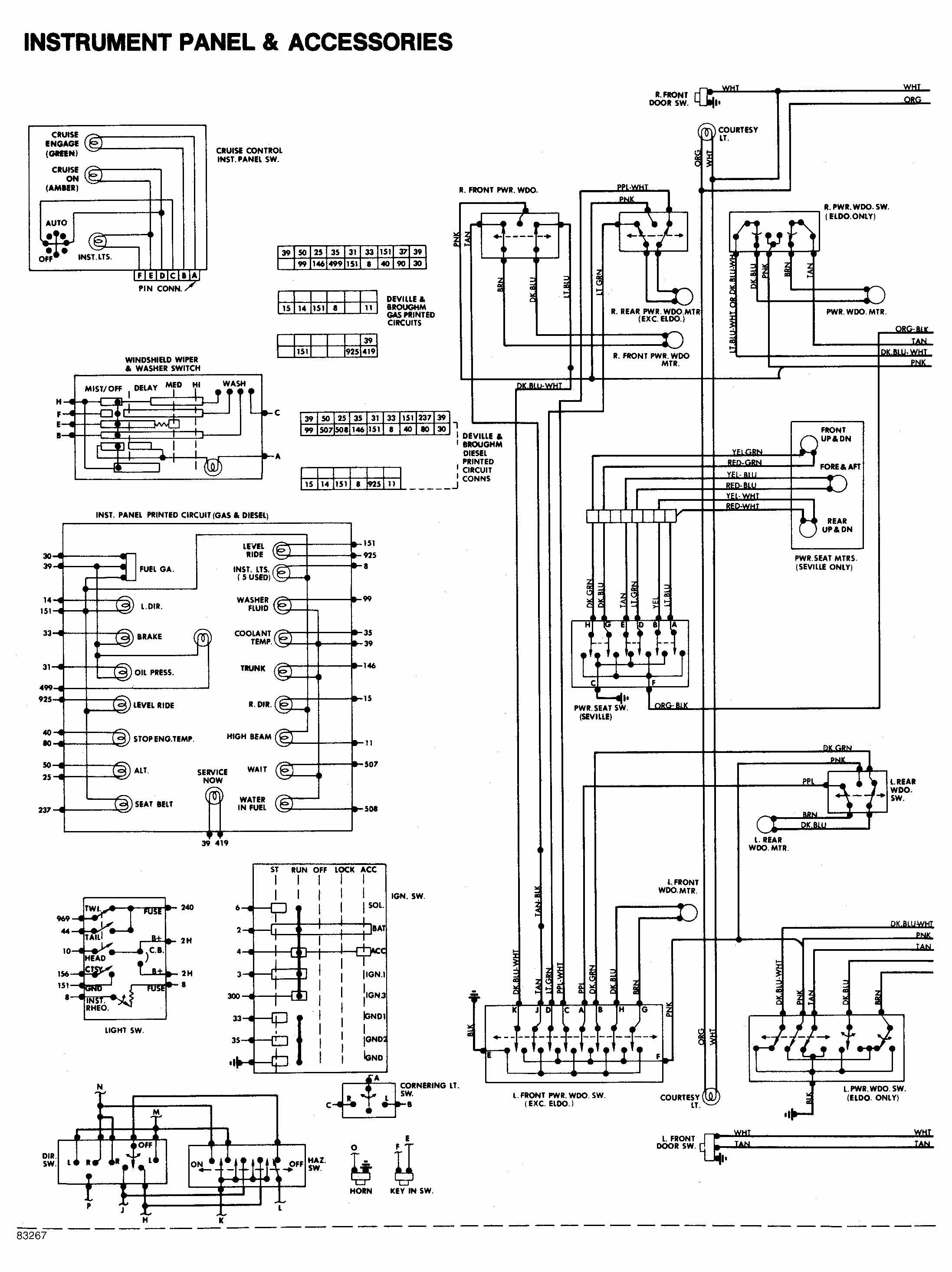1984 Cadillac Deville Instrument panel and accessories wiring diagram -  Drawing A